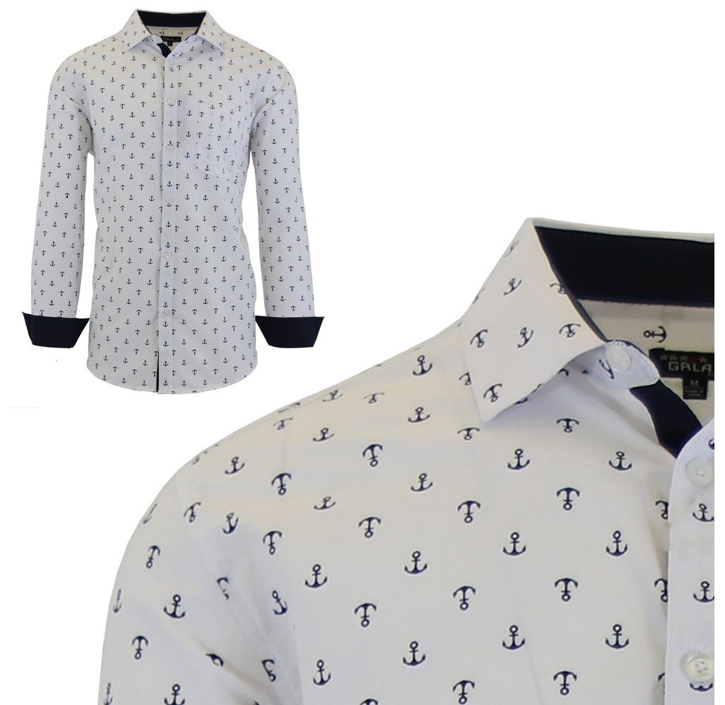 Mens Long Sleeve Printed Dress Shirts With Chest Pocket Untilgone