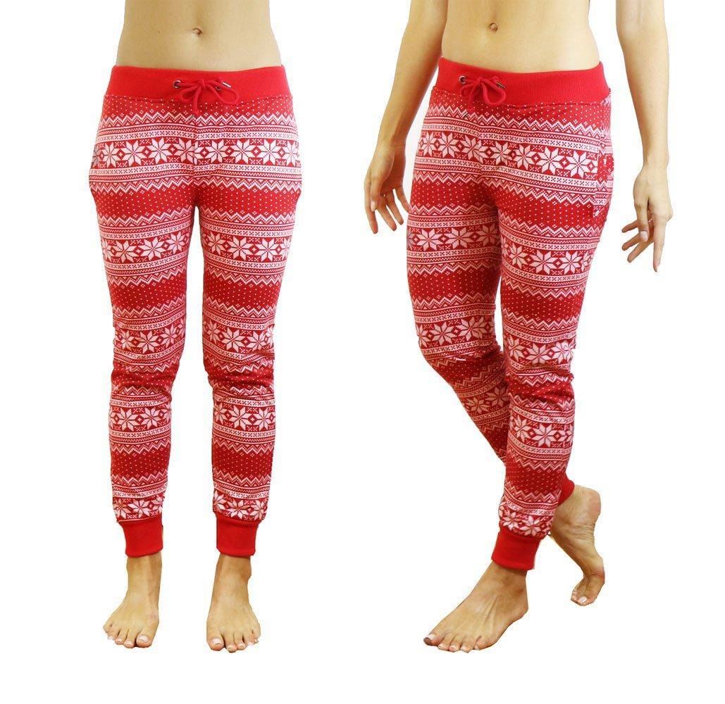 862507363 Men's and Women's French Terry Ugly Christmas Joggers Pants Womens - Red  Snowflake - ...