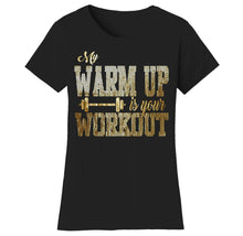Women's Gym Workout Humor Funny T-Shirts Shirts & Tops Warm Up - Black/Gold Print / S