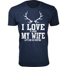 Daily Deals Men's 'I Love It When My Wife Let's Me Go Hunting' T-shirt Shirts & Tops Antler - Navy / S