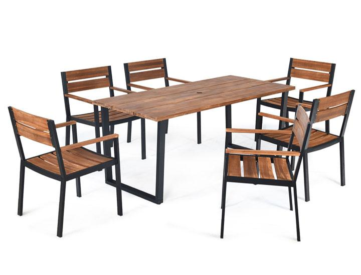 Daily Deals Acacia Wood 7-Piece Patio Dining Set Outdoor Furniture Sets