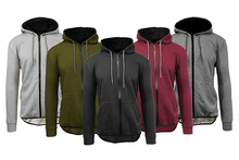 Men's Slim-Fit French Terry Hoodie with Scalloped Bottom Outerwear