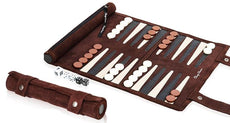 Classy Classics Roll-up Suede Leather Backgammon Game