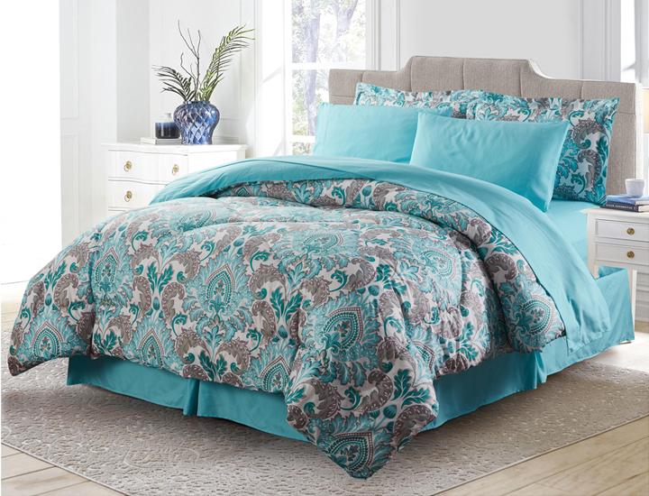 Daily Deals Bibb Home 8-Piece Printed Down Alternative Comforter Set Quilts & Comforters