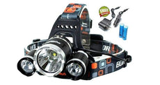 3,500 Lumen Tactical Headlamp with 3 LEDs + FREE Batteries & Chargers