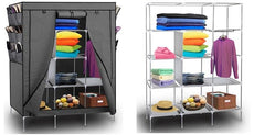 Wardrobe with Customizable Shelves, Shoe Storage & Removable Cover