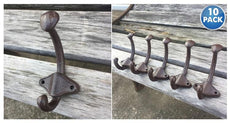 [10-Pack] Vintage Style Cast Iron Wall Coat Hooks
