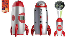 Big Red Rooster Rocket Ship Projection Alarm Clock
