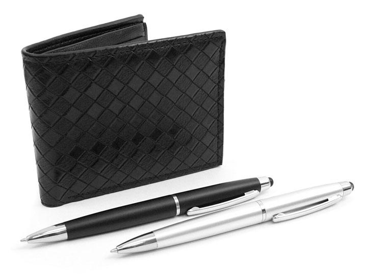 Daily Deals Black Bi-Fold Wallet & 2 Touch Screen Stylus Pens Set Wallets & Money Clips