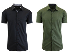 Daily Deals Men's Short Sleeve Dress Shirt (2-Pack) Clothing Black & Olive - Small