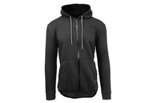 Men's Slim-Fit French Terry Hoodie with Scalloped Bottom Outerwear Black - Small