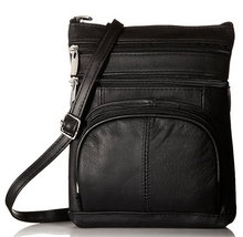 Leather Crossbody Bag with Shoulder Strap Handbags Black