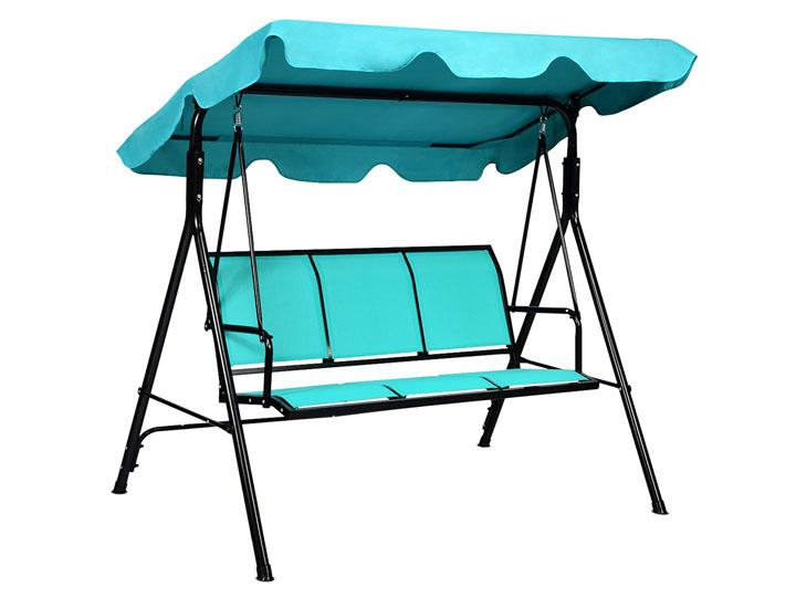 Daily Deals Blue 3-Person Canopy Patio Swing (Clearance) Porch Swings