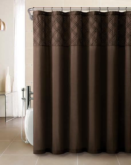 Faux Silk Shower Curtain With Pintuck Pearl Design 12 Matching Hooks