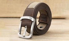 Men's Canvas Belts with Striped Pattern and Pin Buckle Design  - UntilGone.com
