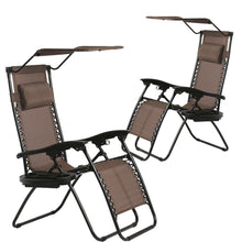 (Set of 2) Zero Gravity Chairs with Canopy & Cup Holder Table