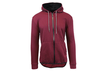 Men's Slim-Fit French Terry Hoodie with Scalloped Bottom Burgundy - Small - UntilGone.com