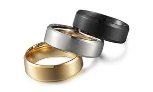 Men's Stainless Steel Comfort Fit Band 3-piece Ring Set Rings