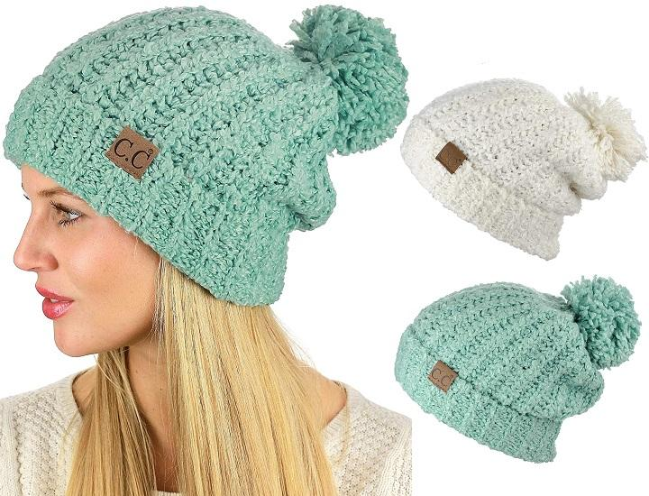 Daily Deals C.C Chenille Soft Stretchy Knit Beanie with Pom Hats