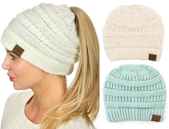 Daily Deals C.C Sparkly Sequin Cable Knit Messy High Bun Ponytail Beanie Hats