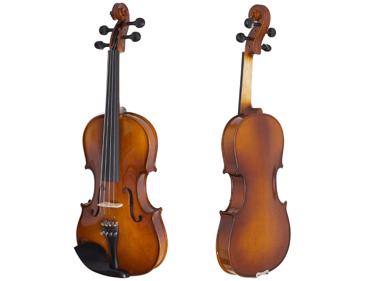 Daily Deals Cecilio Solidwood Ebony Fitted Violin with D'Addario Prelude Strings Violins