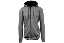 Men's Slim-Fit French Terry Hoodie with Scalloped Bottom Outerwear Charcoal - Small