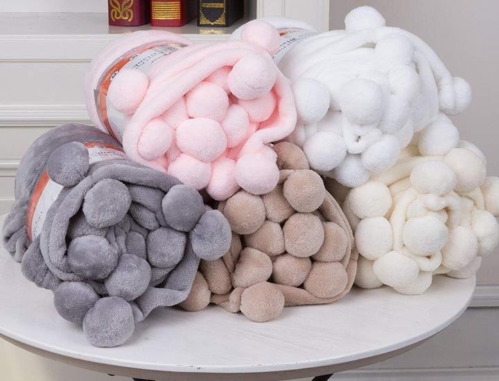 Daily Deals Cheer Collection Pom Pom Flannel Blanket Blankets