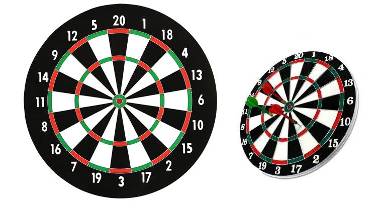 Dartboard with 6 Metal Tip Darts (14