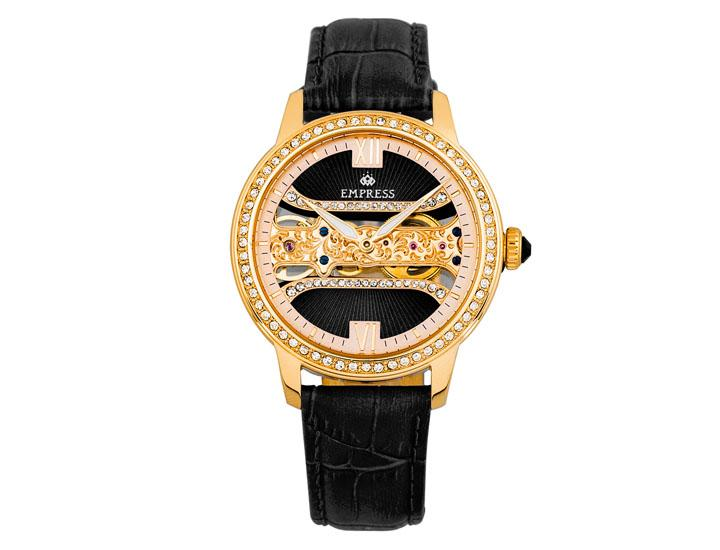 Daily Deals Empress Rania Mechanical Semi-Skeleton Leather-Band Watch Watches