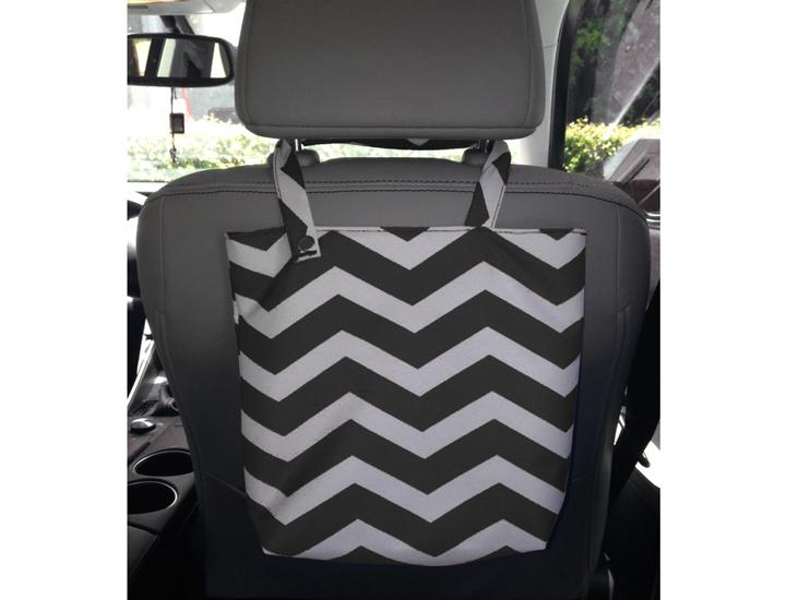 Daily Deals Fabric Solid or Chevron Printed Auto Trash Bag Trash Cans & Wastebaskets