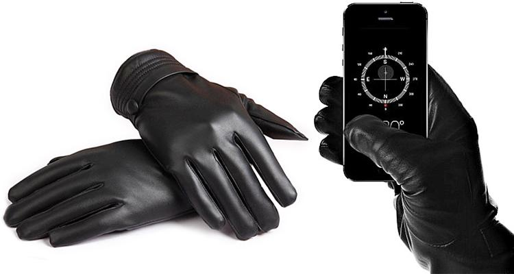Fleece Lined Leather Touchscreen Gloves – 4 Sizes