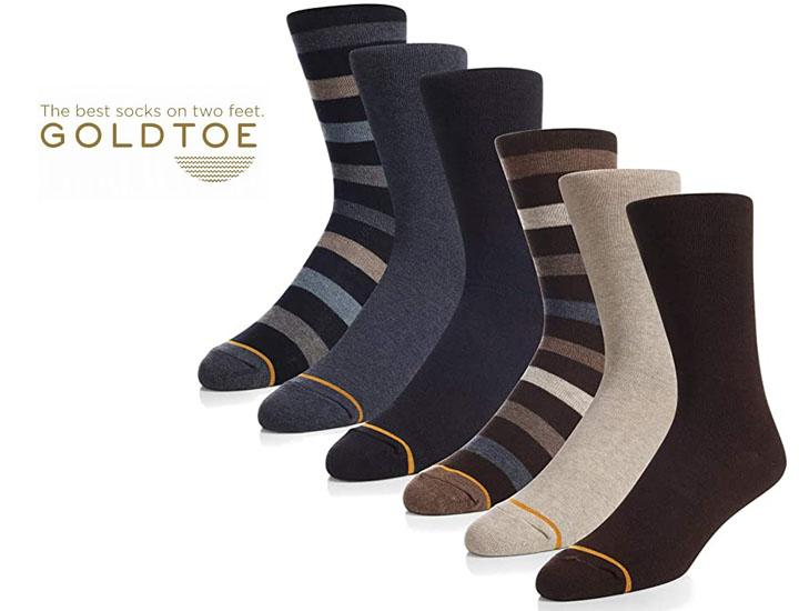 Daily Deals Gold Toe Men's Assorted Casual Crew Socks (6-Pairs) Underwear & Socks