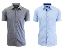 Daily Deals Men's Short Sleeve Dress Shirt (2-Pack) Clothing Grey & Light Blue - Small