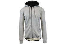 Men's Slim-Fit French Terry Hoodie with Scalloped Bottom Outerwear Heather Grey - Small