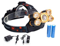 8,000 Lumen 5-Bulb Headlamp + FREE Li-Ion Batteries & Wall/Car Chargers