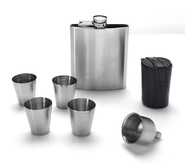 Eravino Stainless Steel 7 oz. Liquor Flask Set with 4 Shot Glasses  - UntilGone.com