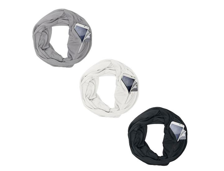 Daily Deals Lightweight Infinity Travel Scarf with Pockets Scarves & Shawls