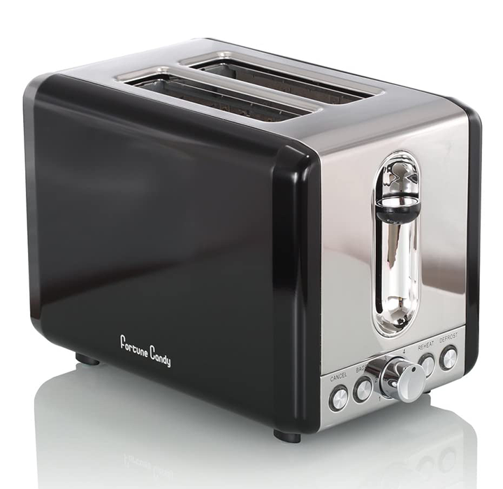 Stainless Steel and Elegant Black 2-Slice Wide Slot Toaster