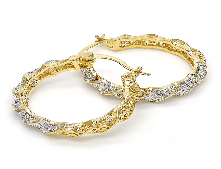 2-Tone Gold Plated Diamond Accent Hoop Earrings