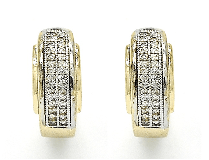 Gold Plated 2-Tone Diamond Accent Earrings