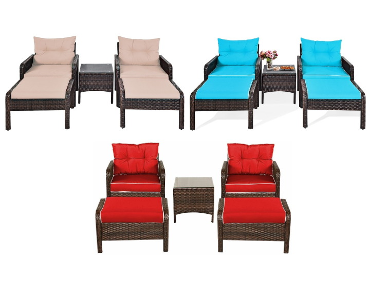 Rattan 5-Piece Patio Chair/Table/Ottoman Set