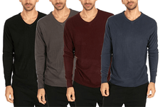 [4-Pack] Men's V-Neck Pullover Sweater with Rib-Knit Cuff and Neck