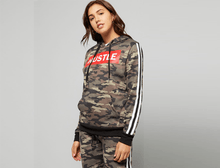 Camo Print 'Hustle' Graphic Hoodie with Stripes Coats & Jackets