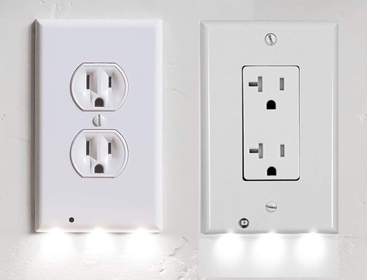 Outlet Cover with Built-In LED Night Lights (4-Pack) Power Outlets & Sockets