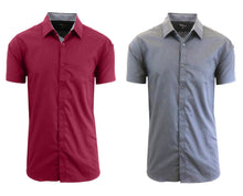 Daily Deals Men's Short Sleeve Dress Shirt (2-Pack) Clothing Maroon & Grey - Small