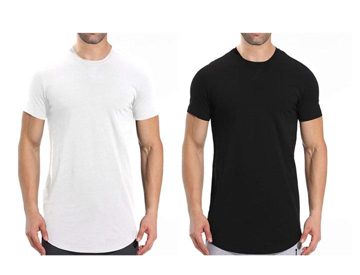 Daily Deals Men's Short-Sleeve Longline Crew Neck T-Shirts (2-Pack) Shirts & Tops