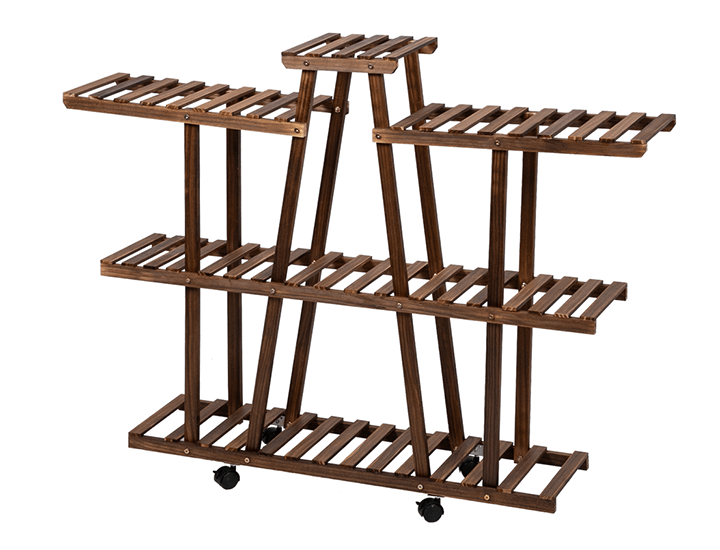 Daily Deals Multifunctional Wooden Rolling Plant/Display Rack Plant Stands