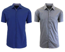 Daily Deals Men's Short Sleeve Dress Shirt (2-Pack) Clothing Navy & Grey - Small
