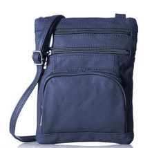 Leather Crossbody Bag with Shoulder Strap Handbags Navy