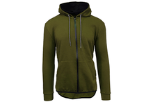 Men's Slim-Fit French Terry Hoodie with Scalloped Bottom Outerwear Olive - Small